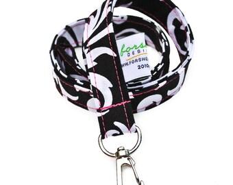 Badge Holder Key Holder Teacher Gift Badge Lanyard Fabric Lanyards Neck Lanyard Cute Lanyard Key Fob Fabric Lanyard Keychain Black and White