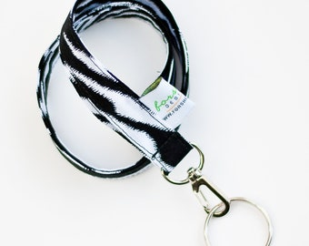 Keychain Lanyard Key Holder ID Badge Holder Fabric Lanyard Keychain Neck Lanyard Key Fob Lanyard Badge Holder Key Chain Zebra Stripe