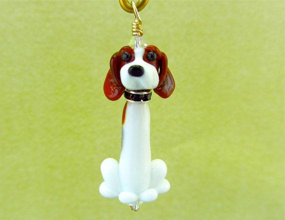 Lampwork Dog Bead Art Pendant - Beagle Basset Mix
