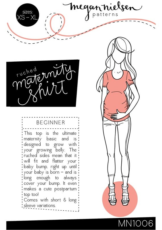 Ruched Maternity Tshirt sewing pattern MN1006