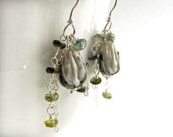 Lampwork Glass rose bud earrings with green Tourmaline, Sterling Silver, romantic blossom eardangles