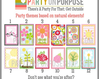 Flowers Birthday Party Banner and Cupcake Toppers Fully Assembled Decorations