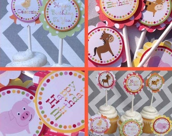 Barnyard Birthday Party Cupcake Toppers Fully Assembled Decorations