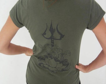 On sale!! Womens fitted tee shirt with Cobra and Trishul print. Yoga top - yoga clothes - dance - fitness. Army green,sizes M and L