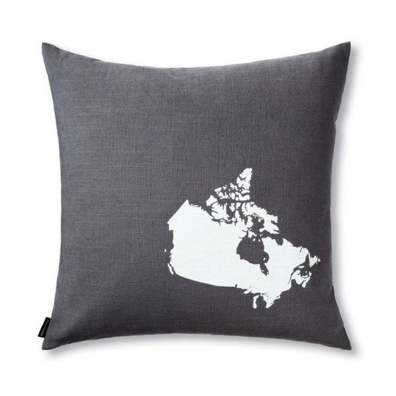 Map of Canada Pillow Cover in Grey Linen