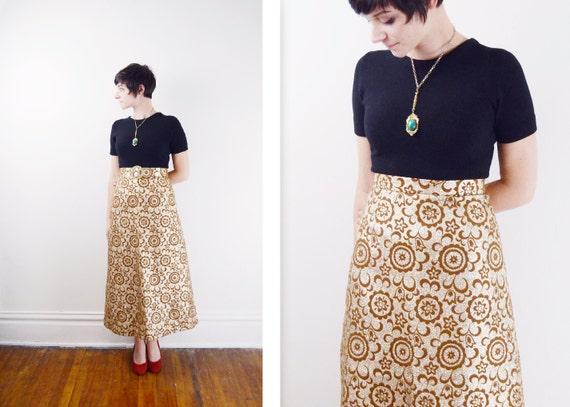 1960s Gold Metallic Skirt - S/M