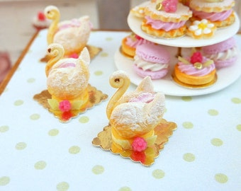 French Raspberry Pastry Swan - Pink Cream - 12th Scale Miniature Food