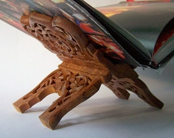 Vintage Carved Wood Folding Book Rest Kitchen Library