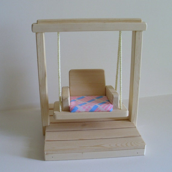 Wooden Doll Swing Set, Doll House Accessories, Natural Wood Waldorf- inspired Toy, fits Barbie Christmas gift