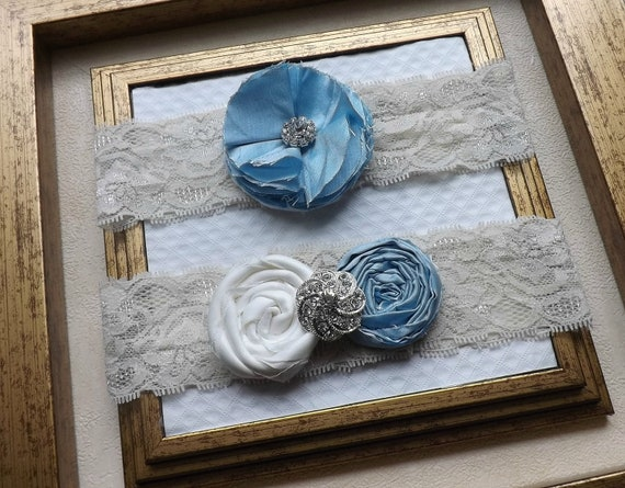 Wedding Garter - LIght Blue Bridal Garter - Vintage Cream Wedding Lace Garter - Something Blue Garter Set