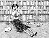 She just wanted to read books and do nothing else // book lover bookworm black and white art print
