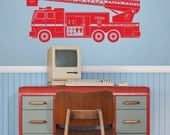 fire truck vinyl wall decal sticker art, boys room, FDNY, fire department wall decal