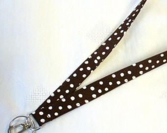 Brown White Fabric Lanyard Breakaway Lanyard ID Badge Holder ID Clip Key Ring Fob Chocolate Brown Polka Dots