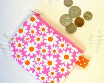 Mini Coin Purse Michael Miller Petal Power Fabric Zipper Change Purse Daisy Pink Orange Handmade MTO