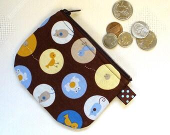 Mini Coin Purse Mouse Spider Frog Mini Change Purse Little Zipper Pouch Brown Blue Handmade MTO