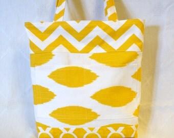 CLEARANCE SALE! Summer Purse Small Tote Bag Chevron Corn Yellow White Reversible Fabric Market Bag Diaper Bag Gym Bag