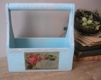 upcycled Aqua blue Wooden TOTE with roses ... desk Organizer .. Bath holder Vanity