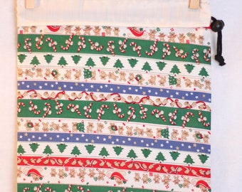 Holiday Fabric Gift Bag, Holiday Stripes, White Christmas, Trees, Bears, Candy Canes, Large