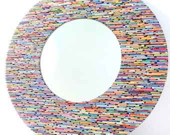 24 inch diameter brightly colored round mirror, wall art- made from recycled magazines, blue, green, red, purple, pink, yellow, orange