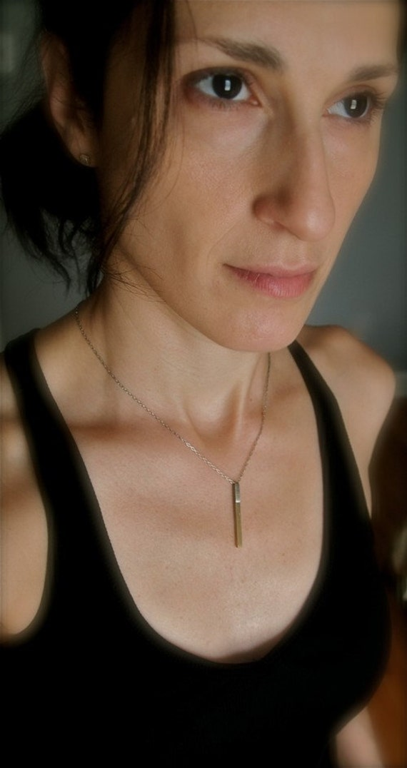 Sassy, sleek sexy, delicate mixed metal stick pendant necklace