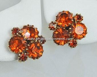 Vintage Unsigned Amber Rhinestone Earrings