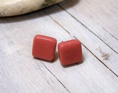 Red Glass Tile Post Earrings - Colorful. Modern. Minimalist.
