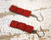 Minimalist Dangle Earrings Bright Red Glass - Wild Bergamont.