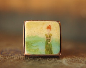 Regency Lady Hand Painted Ring in Copper - Ginger in Green.