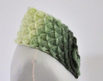 Scarf Cowl Neckwarmer Crochet Green Shades Ivory Mohair Chic Elegant