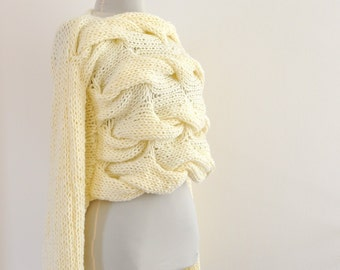 Sweater Cardigan Jacket Tunic Chunky Sweater Hand Knit Ivory Cream