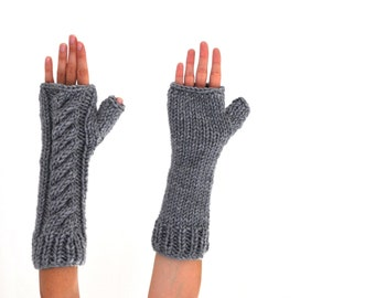 Long Gloves Chunky Gloves Fingerless Gloves Arm Warmers Gray Grey Chunky Knits Cozy Warm
