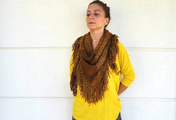 Women Scarf Fringe Shawl Scarf Cowl Neckwarmer Triangle Brown Mustard Soft Cozy Warm Winter Fashion Women Accessories