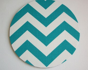 mousepad / Mouse Pad / Mat round or rectangle -  Chevron Teal / blue / aqua / turquoise