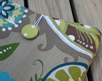 Ready to ship Khaki medallion print iPad sleeve with lime green polka dot lining fabric covered button and elastic Loop Closure