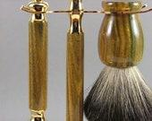 Lignum Vitae Wood Shaving set with Mach 3 Razor and Badger Hair Shaving Brush - Handmade FREE SHIPPING