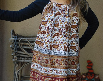 Hippie Halter Dress tunic blouse  - Maroon Gold Jaipur - size 6-7  fits many sizes - read measurements