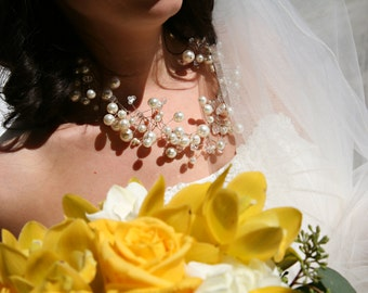 Pearl and Crystal Bridal Wedding Necklace Formal Occasion
