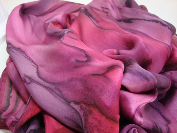 Scarf, Women, Silk, Extra Long, Hand Dyed Mulberry Wine Silk Scarf, Great for Chemo