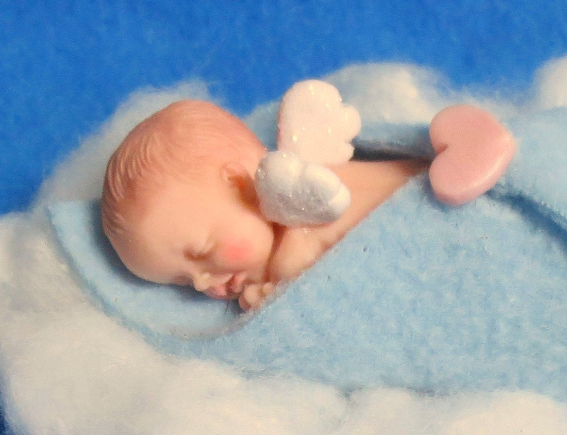 Baby Boy Memorial Angel Baby Figurine or Ornament Polymer Clay
