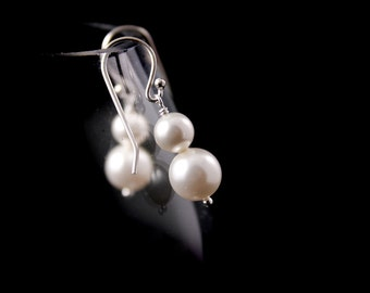 Wedding Jewelry Set of 6 Simplicity Double Pearl  Bridal Earrings