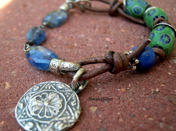 African Trade Bead  Leather  Kyanite Bracelet