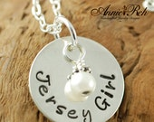 Jersey Girl, Personalized Jewelry, Hand Stamped Sterling Silver Necklace, Pearl