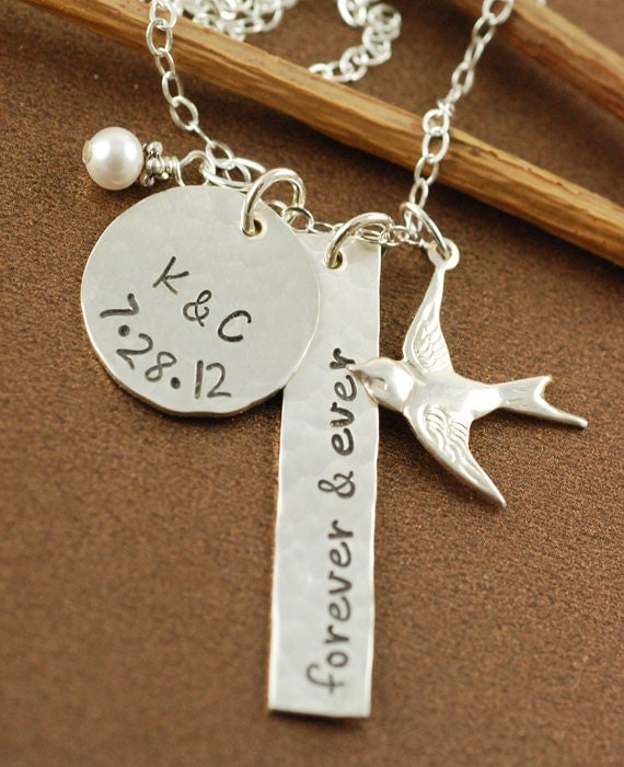 Personalized Necklace, Mommy Necklace, Swallow Bird,  Name Jewelry, Sterling Silver, Hand Stamped Jewelry