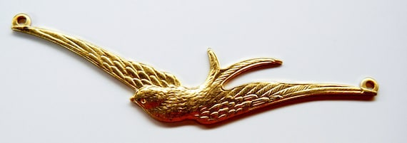 Raw Brass Bird with Wings Open 1 Connector (AS-R184R-12)