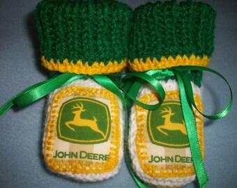 Hand Made,Knit,John Deere Appliqued Baby Booties