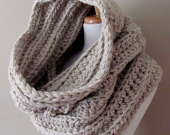 100% Wool Hooded Cowl Snood Cowl Scarf Chunky Cowl - Light Beige or Choose Your Color