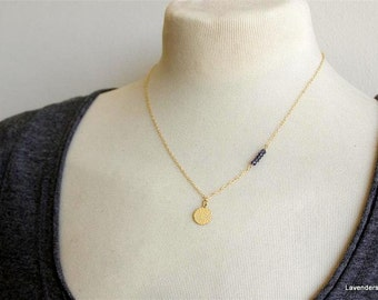 Iolite Water sapphire Necklace , Gold Disc Necklace , Row Iolite  Necklace , Gold Necklace , 14k Gold fill ,  September Birthstone