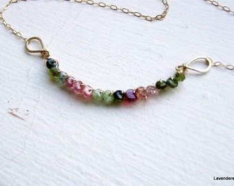 Watermelon Tourmaline Necklace , Gold Necklace , Wire Wrapped gemstone Necklace , October Birthstone , Tourmaline Necklace