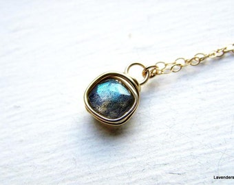 Labradorite Necklace  , Labradorite Cube Necklace , Gold Fill , Wire Wrapped Gold Necklace , Geometric  , Gemstome Necklace