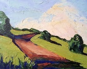 Oil Painting California Landscsape HILLSIDE PATH Lynne French Impressionist Art 8x10